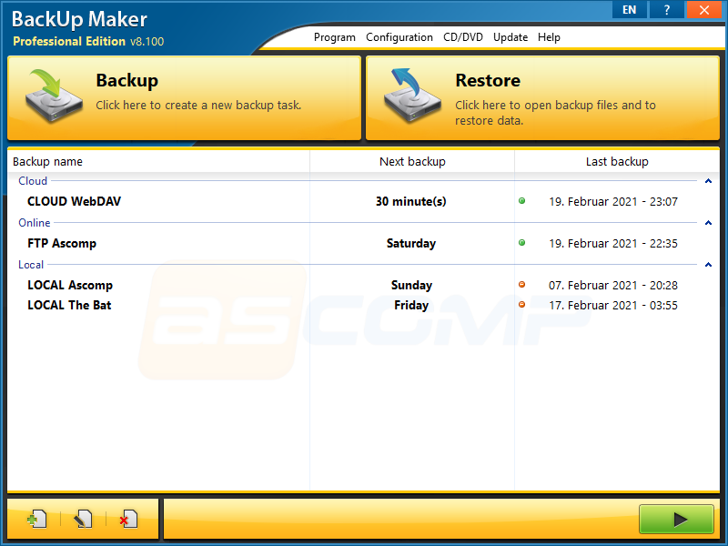 Full BackUp Maker Standard Edition screenshot